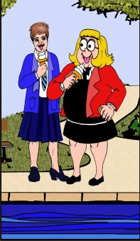 Pam of Pond Hill meets Bessie Bunter. Artwork by Mistyfan.