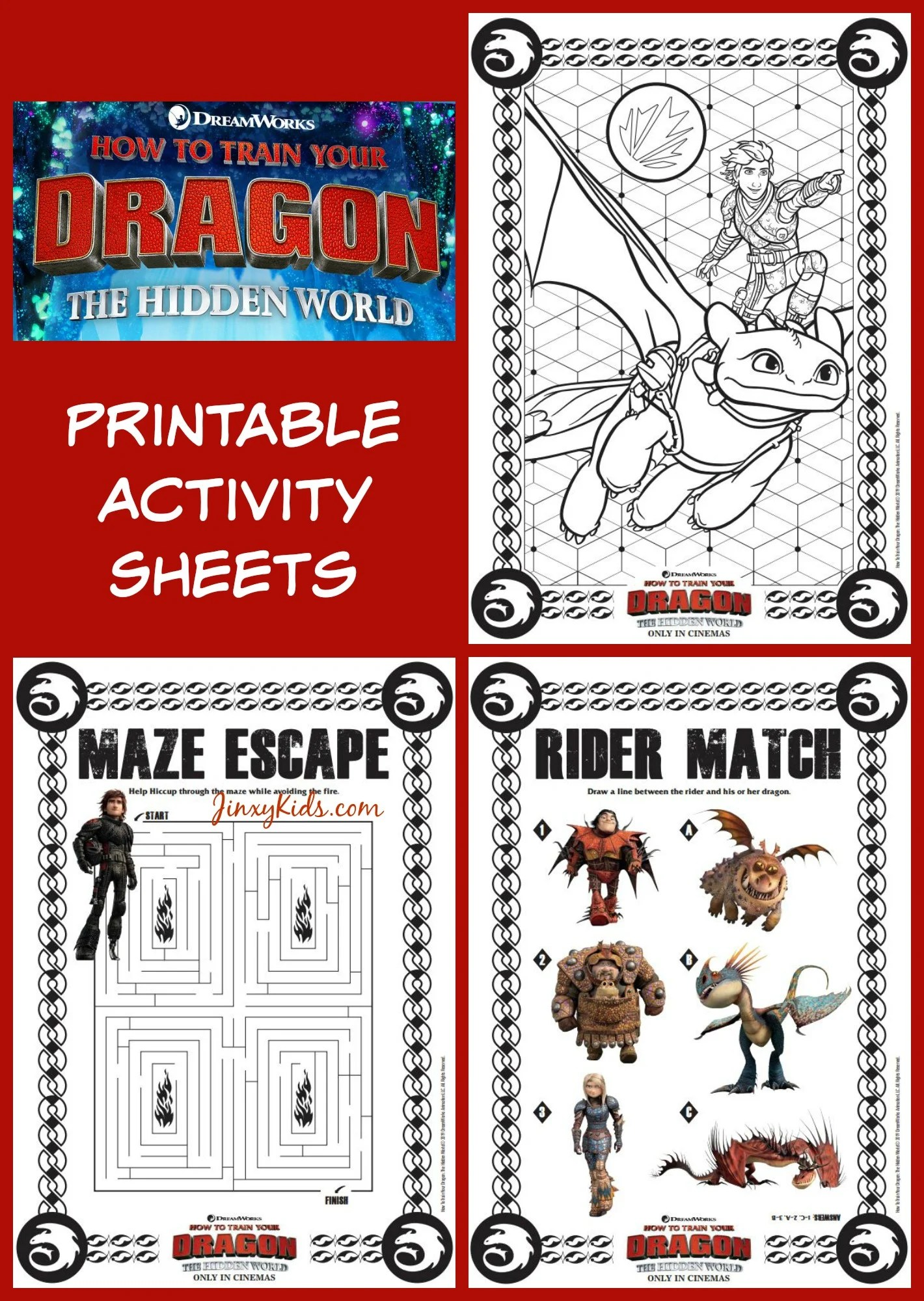 How To Train Your Dragon Printable Activity Sheets