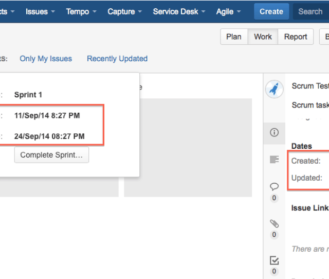 When Clicking On The Down Arrow To Expand The Complete Sprint Window Both Start Date And End Date Fields Are Not Following The Date Format Set On Jira