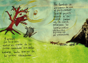 The countryman not only learned that he should not get in hunter dog´s caves with out being invited, but he also realized that the hunter dog took the bird to the cave because in the cave were all his hunting student puppies.