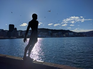 Waterfront and man in wind.