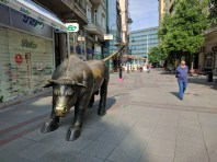 Wall Street bull in Skopje. You can find really all statues in here.