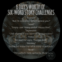"Six-Word Story Challenge - ""Framed"", ""Jewel"", ""September"", ""Hobo"", ""Monkey"", and ""Book."""