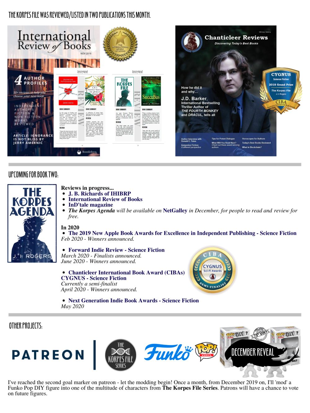 "Visuals of: ""International Review of Books"" - The Korpes File review.  ""Chanticleer Reviews"" - Winter Issue Listings for Reviews in progress and upcoming events for ""The Korpes Agenda"" Announcement of having reached the second goal marker on Patreon."