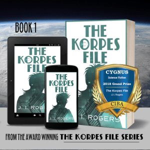 "Book covers of ""The Korpes File"" - book 1 in digital and paperback formats with the CYGNUS Grand Prize Award on it."