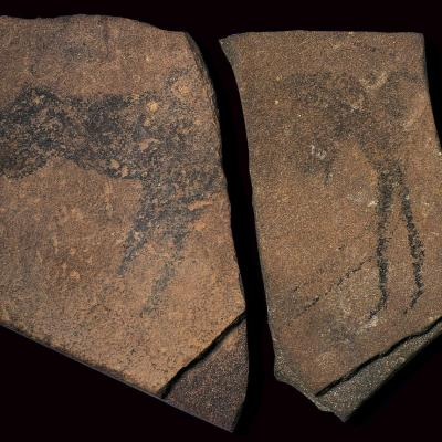 #1. Apollo 11 stones. Namibia. c. 25,500–25,300 BCE. Charcoal on stone.