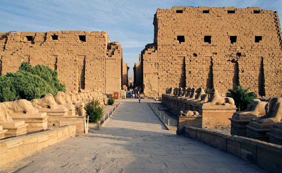 #20. Temple of Amun-Re and Hypostyle Hall. Karnak, near Luxor, Egypt. New Kingdom, 18th and 19th Dynasties. Temple: c. 1550 BCE; hall: c. 1250 BCE. Cut sandstone and mud brick.