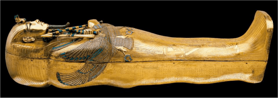 #23. Tutankhamun's tomb, innermost coffin. New Kingdom, 18th Dynasty. c. 1323 BCE. Gold with inlay of enamel and semiprecious stones.