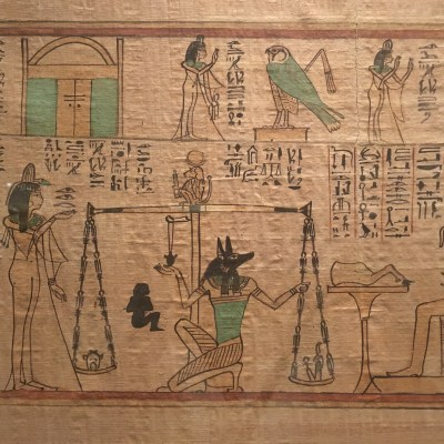 #24. Last judgment of Hunefer, from his tomb (page from the Book of the Dead). New Kingdom, 19th Dynasty. c. 1275 BCE. Painted papyrus scroll.