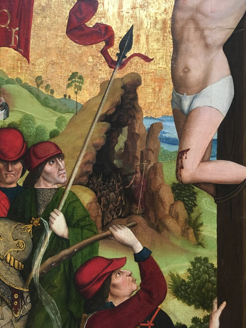 NGA-Master of the Death of St Nicholas of Munster, Calvary, 1470-1480-lance detail