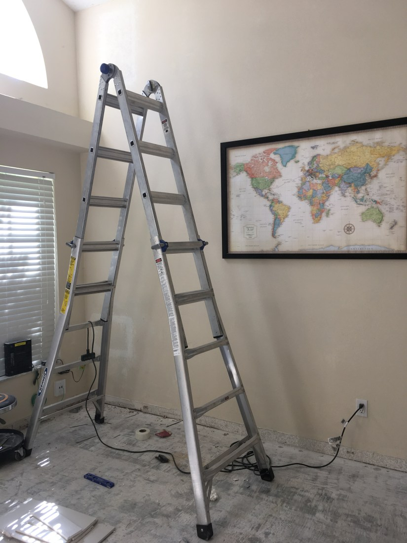 living room with ladder