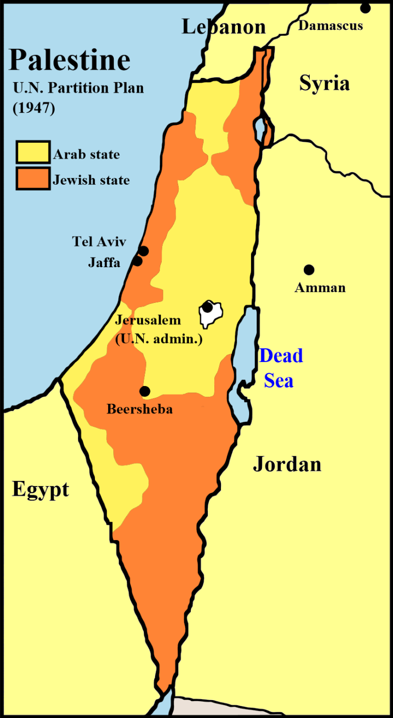 partition of palestine map