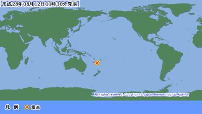 地震予知情報 大静寂に変化→南太平洋M7.6。