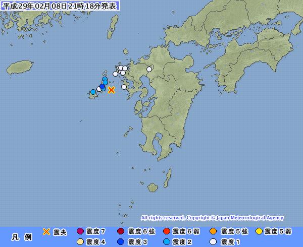 地震予知情報 五島列島 南関東の状況