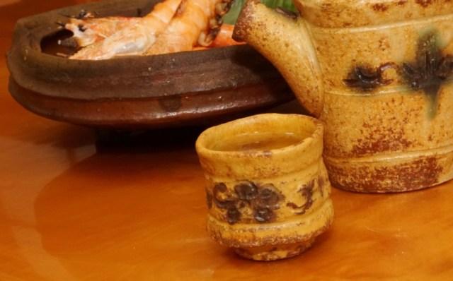 天使の海老の塩焼きと日本酒