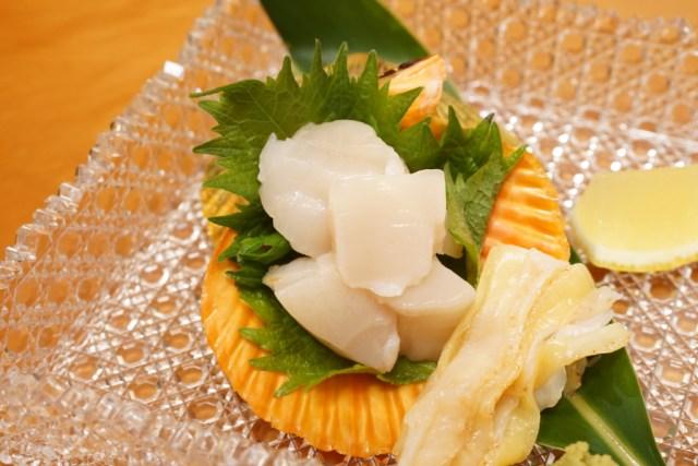ヒオウギ貝の刺身モチモチ食感で甘い貝柱