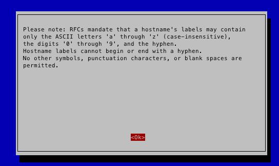 rasp-config hostnameの設定画面