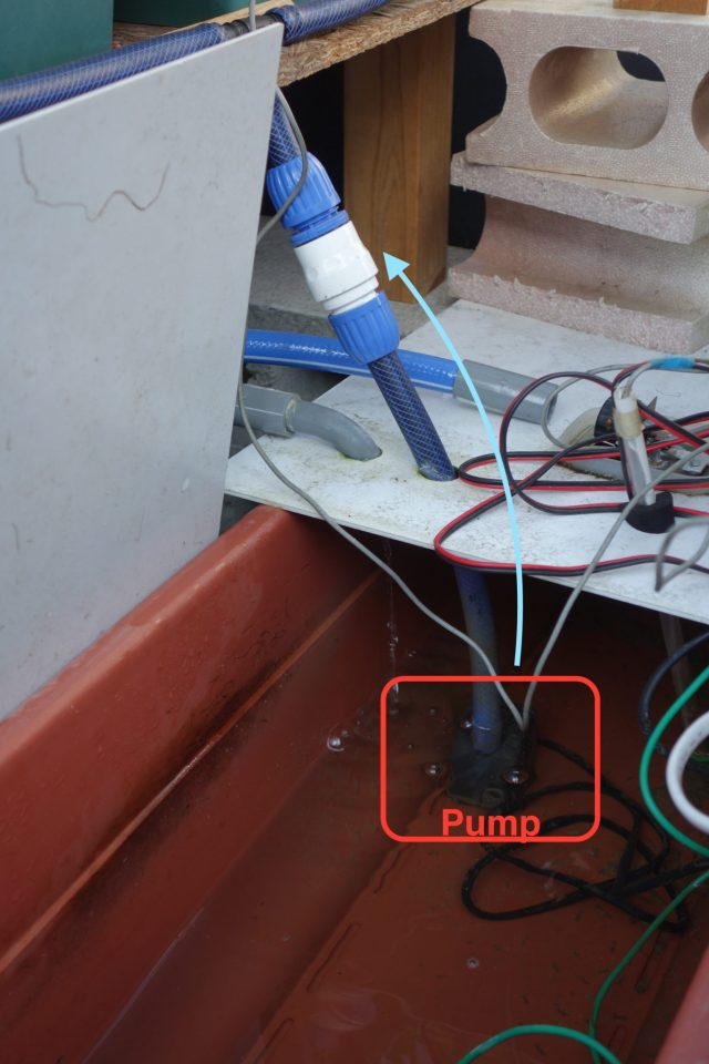 Hydroponics image. Pump lift up water