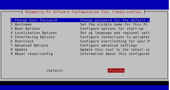 rasp-config設定の終了画面