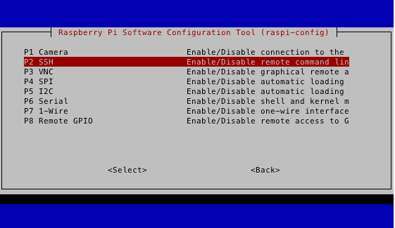 rasp-configの設定の仕方。sshの画面