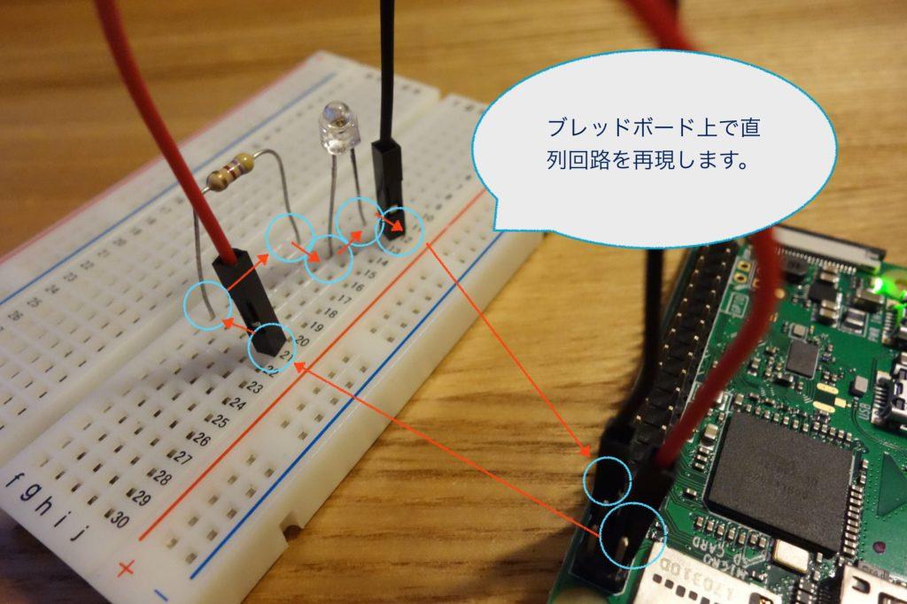 ラズベリーパイでLEDを制御する様子。ブレッドボードで実験。