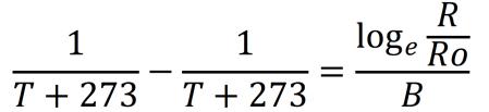 サーミスタの抵抗と温度の変換式。温度の式に変換