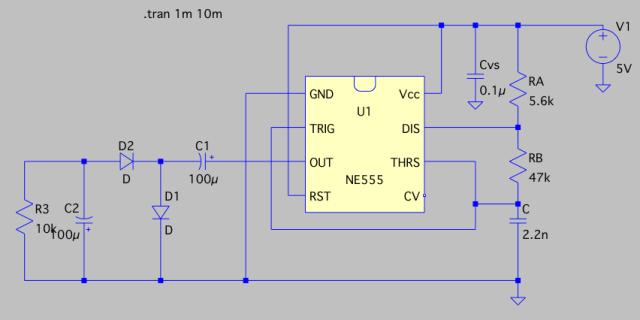 タイマーIC555を使ってマイナス電源をつくるときの回路図