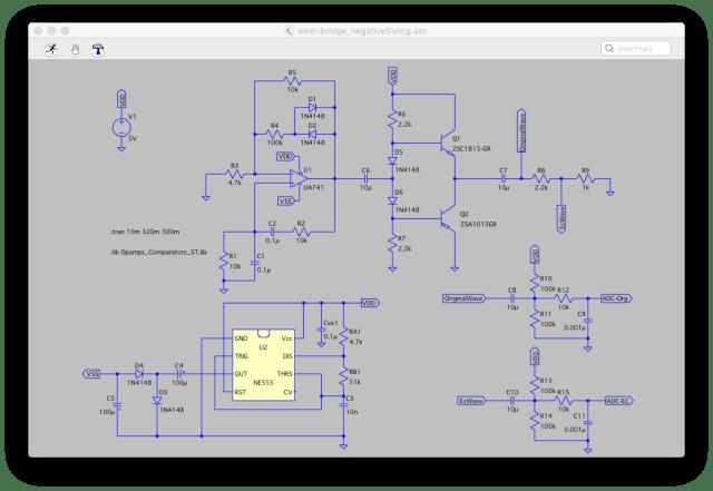 水耕栽培に使える自作のEC回路の回路図。LTSpiceで作った回路図