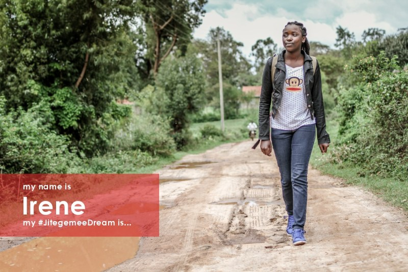 My name is Irene. My #JitegemeeDream is to break the cycle of poverty and do something positive with my life. I was raised by a single mum who worked casual jobs to feed, clothe, and pay school fees for me and my 3 siblings. I remember going to school hungry because she could not afford to feed us 2 meals per day. There were times when I would be sent home because tuition fees had not been paid. My mother died when I was in Standard 7 and my siblings and I were taken in by family members. Jitegemee took over my school fees and I graduated from secondary school this year!