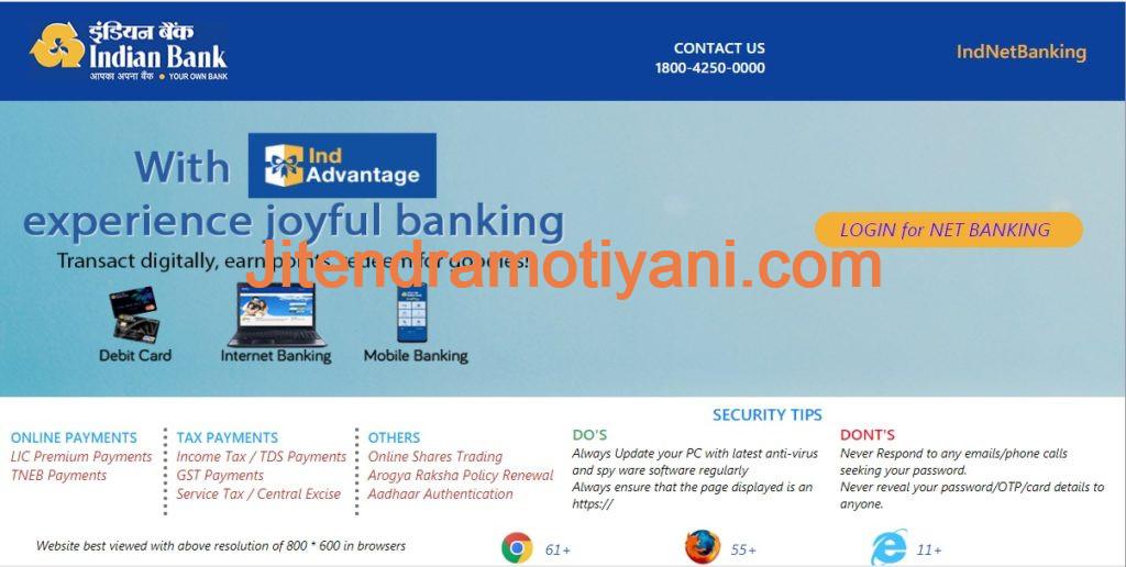 indian bank net banking login registration