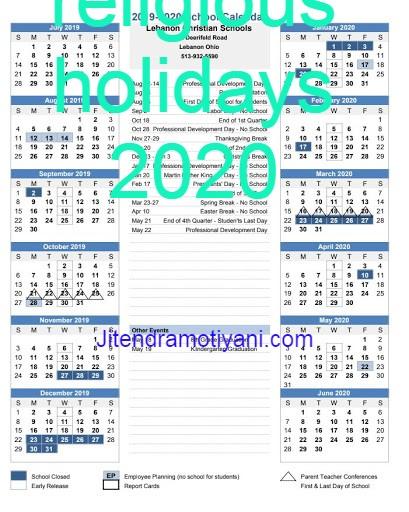 religious holidays 2020