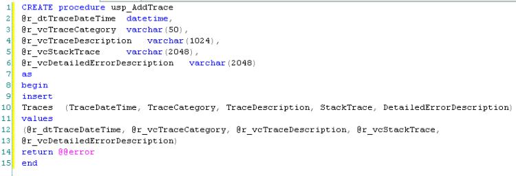 Stored Procedure ASP.NET Tracing