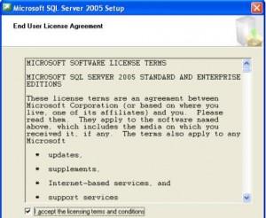 SQL Server 2005 Accept License