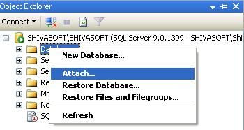 Click on Attach option of Database