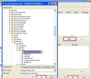 Select Existing mdb file on system to attach