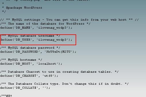 WordPess Edit Wp-Config Get DataBase Name
