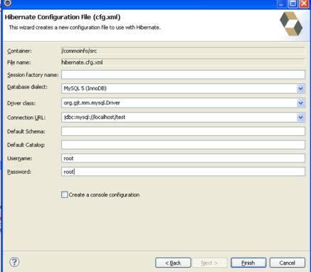 Hibernate Configuration File (cfg.xml) Wizard