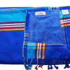 Kikoy and Terry Towel - White with Turquoise Border