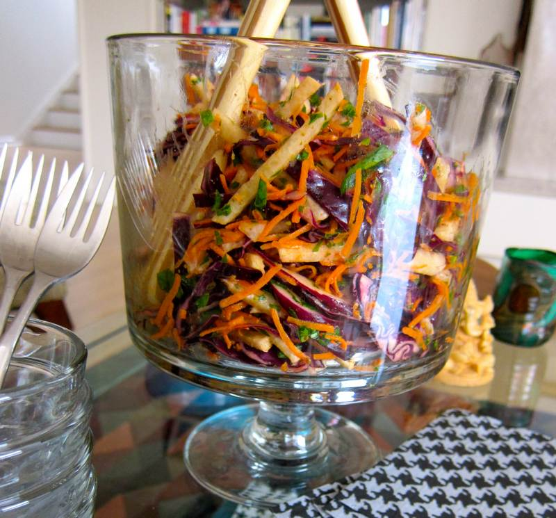 Jicama Cabbage Carrot Coleslaw with Anise Dressing