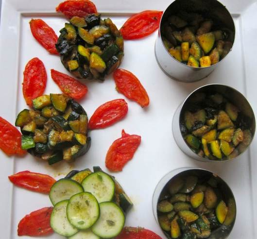 Zucchini Lotus Flowers with Roasted Tomato Petals