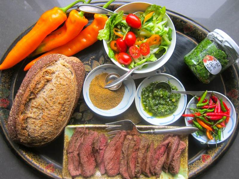 Hot Green Pepper Salsa Marinade on Skirt Steak, Salmon or Trout