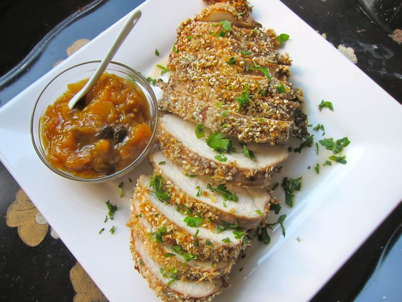 Sesame Ginger Chicken with Ginger Peach Chutney
