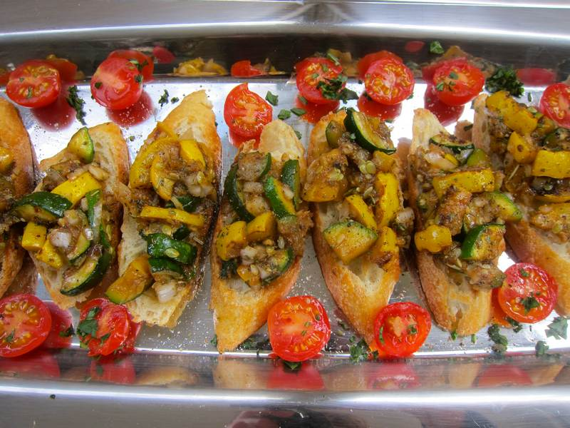 Brussels Sprout, Roasted Pepper or Zucchini Crostini