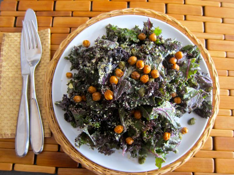 Kale Faux Caesar Salad - Roasted Chickpeas