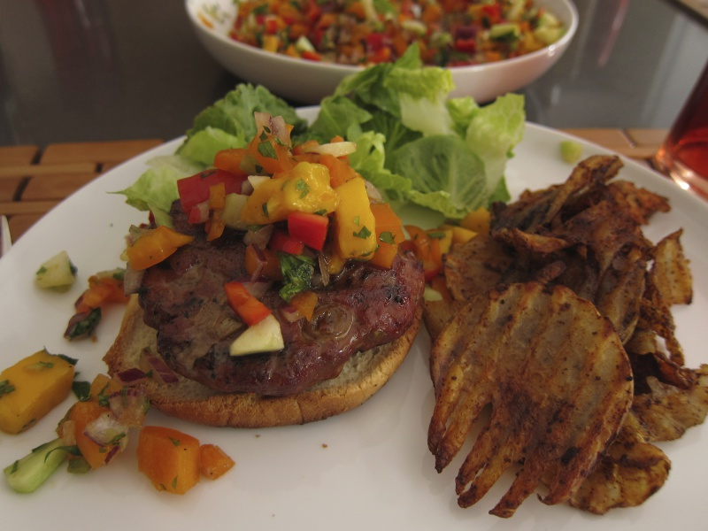 Hoisin Burger with Rainbow Salsa