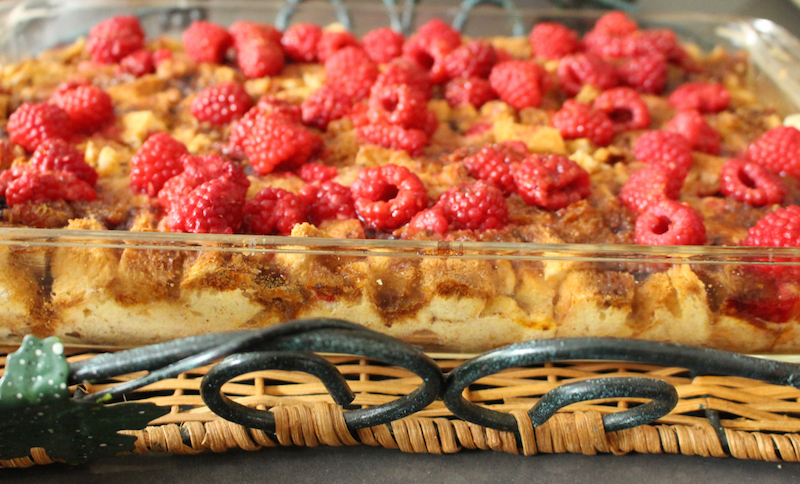 Faux Cheesecake Blackcurrant Bread Pudding