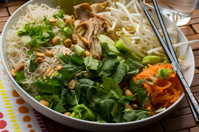 Roast Chicken Cucumber Mint Noodle Bowl
