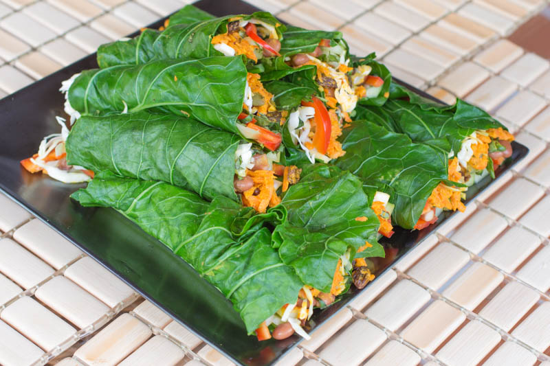 Collard Wrap - curried carrot tahini salad collard wraps