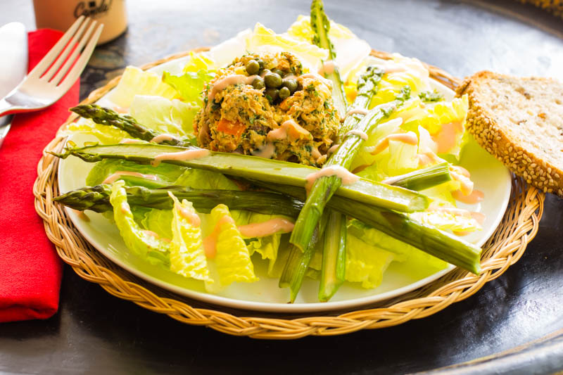 Salmon Salad with Roasted Asparagus and Russian Dressing