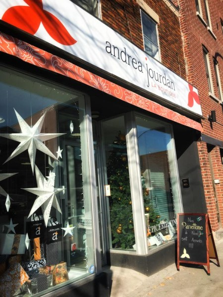 Andrea Jourdan - La Boutique Notre Dame store exterior with Christmas decorations